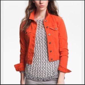 Anthropologie Orange Cropped Jean Jacket